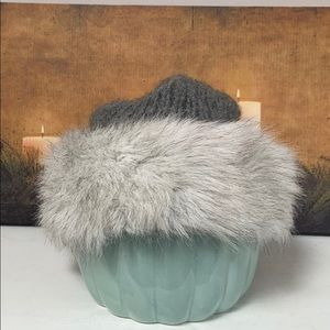 NWOT Gray Handmade Hat with Faux Fur Trim